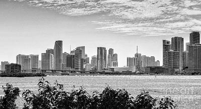 Photograph - Miami Skyline Skyscrapers In Bw by Rene Triay Photography