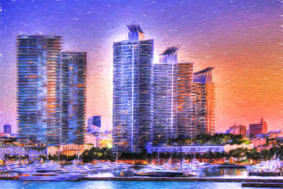 Print featuring the photograph Miami Skyline Sunrise by Shelley Neff