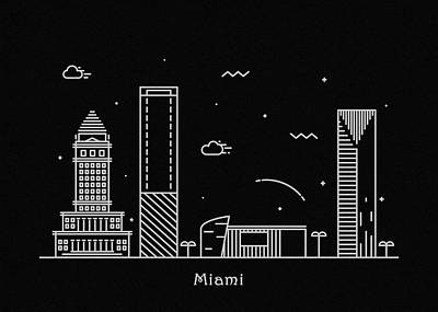 Miami Skyline Drawing - Miami Skyline Travel Poster by Inspirowl Design