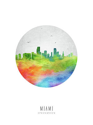 Miami Skyline Digital Art - Miami Skyline Usflmi20 by Aged Pixel