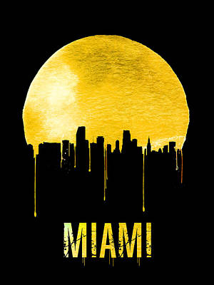 Miami Skyline Digital Art - Miami Skyline Yellow by Naxart Studio