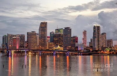 Photograph - Miami Skyscrapers Reflection Biscayne Bay by Rene Triay Photography