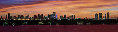 Miami Skyline Photograph - Miami Sunset Panorama by Gary Dean Mercer Clark