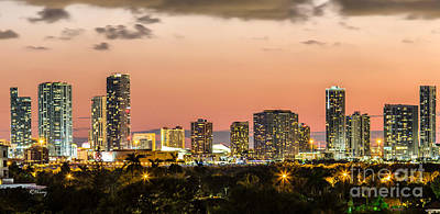 Miami Sunset Skyline Art Print by Rene Triay Photography