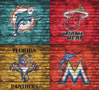 Mixed Media - Miami Teams Graphic Barn Door by Dan Sproul