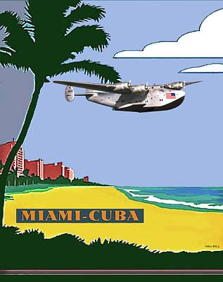 Key West Mixed Media - Miami To Cuba, Boeing 314 Clipper Plane, Minimalist Poster Art by Thomas Pollart