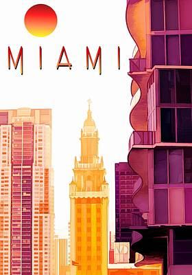Miami Skyline Digital Art - Miami - Travel Poster by Chrystyne Novack