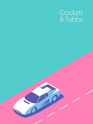 Miami Vice Digital Art - Miami Vice Crockett Tubbs Ferrari by Ivan Krpan
