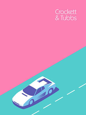 Miami Vice Crockett Tubbs - Magenta Art Print