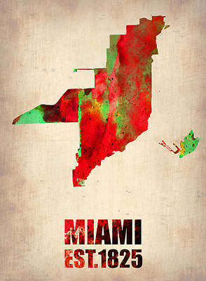 Poster Mixed Media - Miami Watercolor Map by Naxart Studio