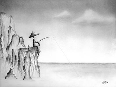 Drawing - Micah Monk 03 - Fishing by Lori Grimmett
