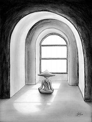 Drawing - Micah Monk 04 - Morning Meditation by Lori Grimmett