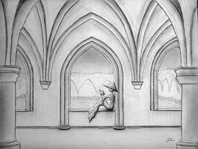 Drawing - Micah Monk 06 - Bible Study by Lori Grimmett