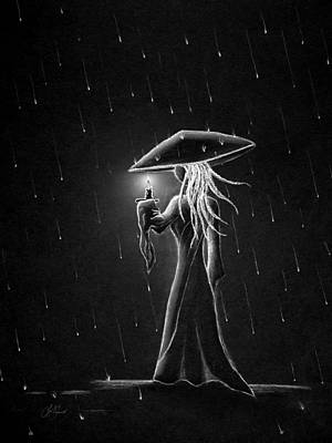 Drawing - Micah Monk 07 - Candle In The Rain by Lori Grimmett