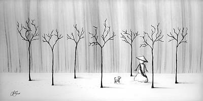 Drawing - Micah Monk 10 - Snowmonk by Lori Grimmett