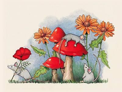 Drawing - Mice In The Garden by Joyce Geleynse