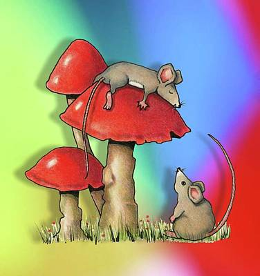 Drawing - Mice With Toadstools by Joyce Geleynse
