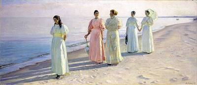 State Love Nancy Ingersoll - Michael Ancher - A stroll on the beach by Michael Ancher