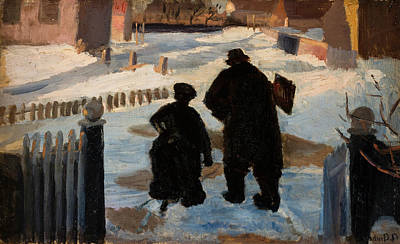 Helene Painting - Michael Ancher On His Way To His Studio Accompanied By The Organist Helene Christensen by Anna Ancher