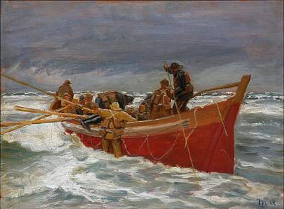 Bear Photography - Michael Ancher, The red lifeboat on its way out to the sea by Michael Ancher