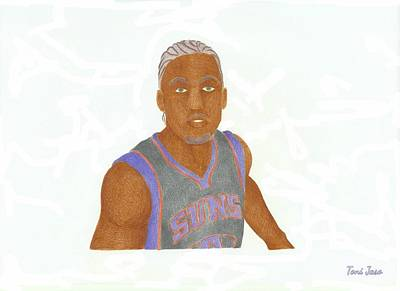 Miami Heat Drawing - Michael Beasley  by Toni Jaso