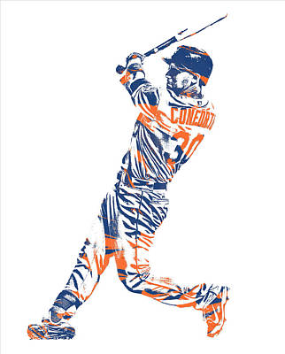 New York Mets Mixed Media - Michael Conforto New York Mets Pixel Art 1 by Joe Hamilton