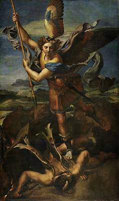 Painting - Michael Defeats Satan  by Raphael