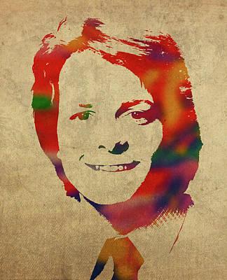 Fox Mixed Media - Michael J Fox Watercolor Portrait by Design Turnpike