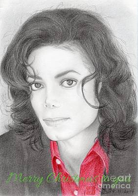 Drawing - Michael Jackson Christmas Card 2016 - 006 by Eliza Lo