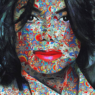 Michael Jackson Digital Art - Michael Jackson Color Stamp by Yury Malkov