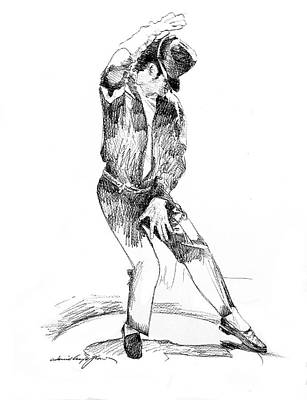 Icon Drawing - Michael Jackson Dancer by David Lloyd Glover