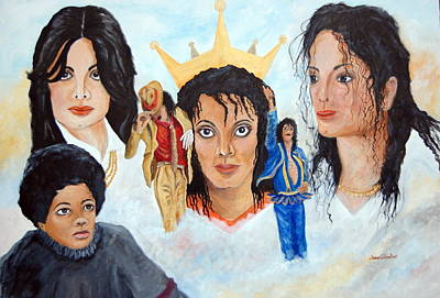 Michael Jackson-faces Art Print by Janna Columbus