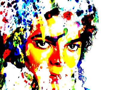 Overdose Digital Art - Michael Jackson Paint Splatter by Brian Reaves