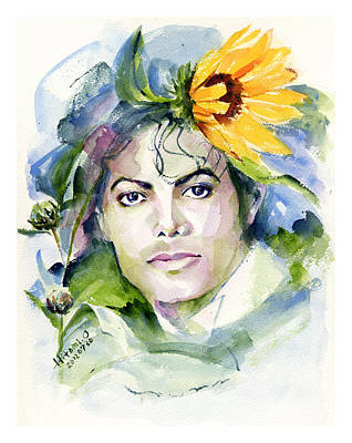 Michael Jackson Drawing - Michael Jackson Sunflowers In The Sky by Hitomi Osanai