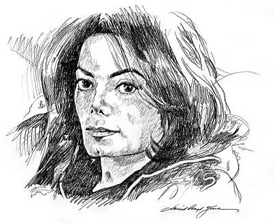 Famous Musician Drawing - Michael Jackson Thoughts by David Lloyd Glover