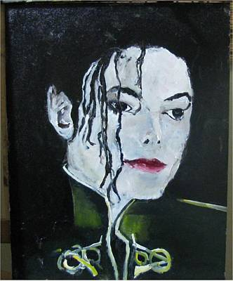 Michael Jackson Oil Painting - Michael Jackson White Face by Udi Peled