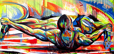Painting - Michael Johnson Stretch by John Jr Gholson