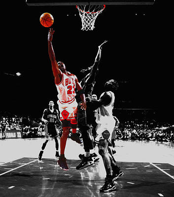Dennis Miller Wall Art - Mixed Media - Michael Jordan Against Indiana Pacers by Brian Reaves