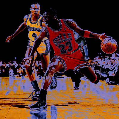 La Lakers Mixed Media - Michael Jordan And Byron Scott by Brian Reaves