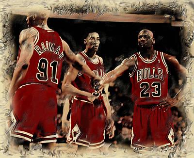 Michael Jordan And Crew Art Print