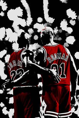 John Stockton Mixed Media - Michael Jordan And Dennis Rodman Last Stand by Brian Reaves