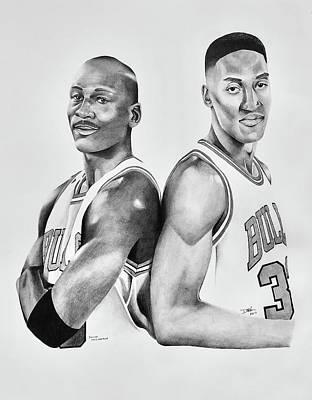 Drawing - Michael Jordan And Scottie Pippen by Devin Millington