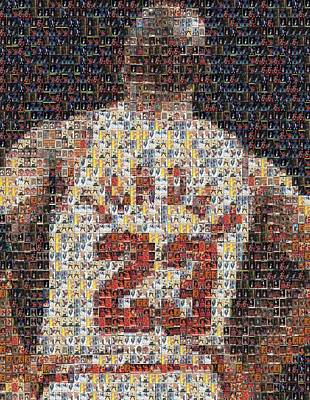 Athletes Mixed Media - Michael Jordan Card Mosaic 2 by Paul Van Scott