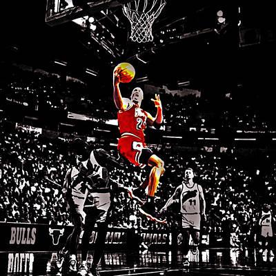John Stockton Digital Art - Michael Jordan Caught Them Looking by Brian Reaves