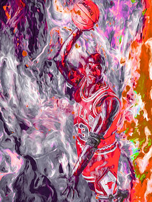 Photograph - Michael Jordan Chicago Bulls Digital Painting by David Haskett II
