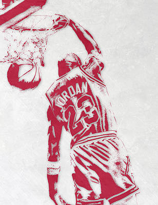 Athletes Mixed Media - Michael Jordan Chicago Bulls Pixel Art 1 by Joe Hamilton