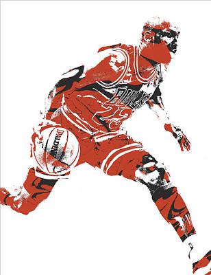 Michael Jordan Mixed Media - Michael Jordan Chicago Bulls Pixel Art 10 by Joe Hamilton