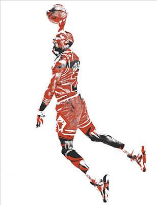 Bull Mixed Media - Michael Jordan Chicago Bulls Pixel Art 11 by Joe Hamilton