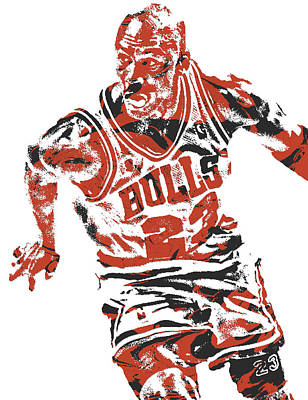 Bull Mixed Media - Michael Jordan Chicago Bulls Pixel Art 15 by Joe Hamilton