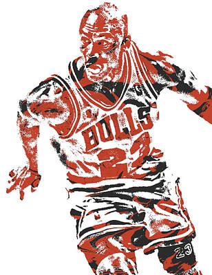 Michael Jordan Mixed Media - Michael Jordan Chicago Bulls Pixel Art 15 by Joe Hamilton